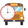 School Bus face with clock